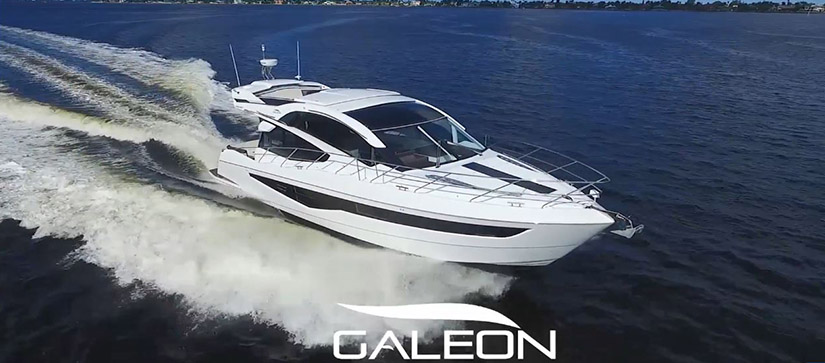 A Galeon yacht cruises through the water