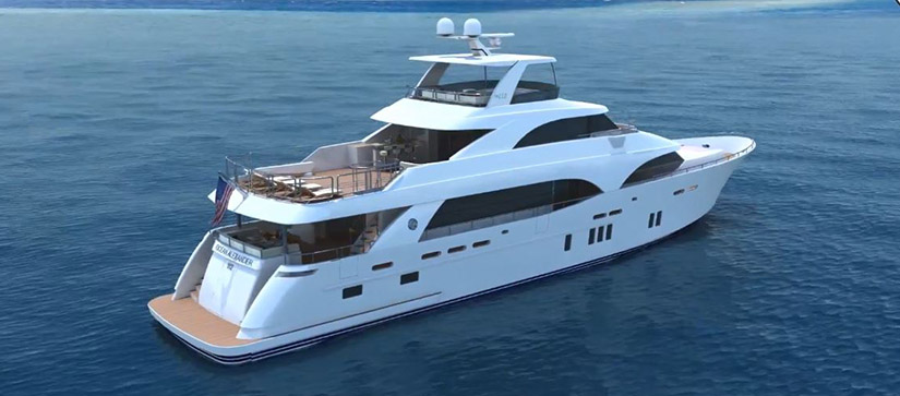 A computer-generated rendering of an Ocean Alexander 112 Motor Yacht sits in the water