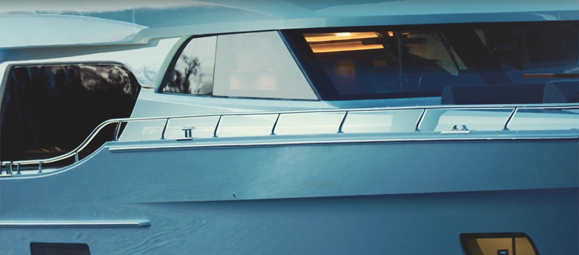 Close up view of the bow windows on the Ocean Alexander 70e