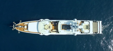 Azimut yacht viewed from above in blue sea