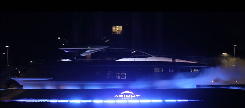 Azimut Yachts S7 lit up during Milan Design Week