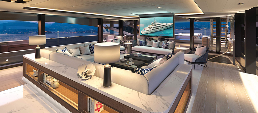 The interior of a Benetti yacht