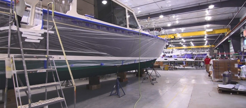 MJM Yacht under construction in the factory